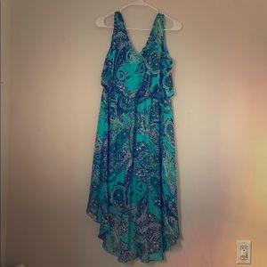 Blue/ green chiffon dress s12